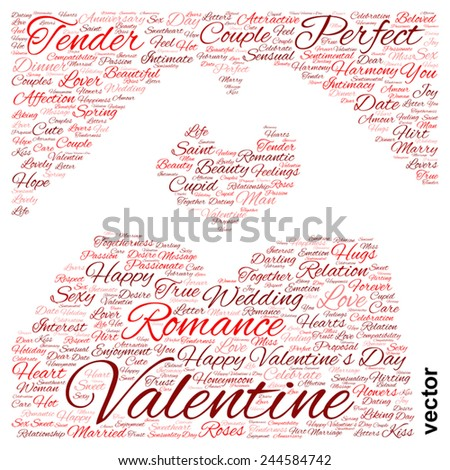 Vector concept or conceptual red wordcloud or text in shape of hand heart isolated on white background, metaphor to love, romance, passion, romantic, emotion, marriage, valentine, desire or affection - stock vector
