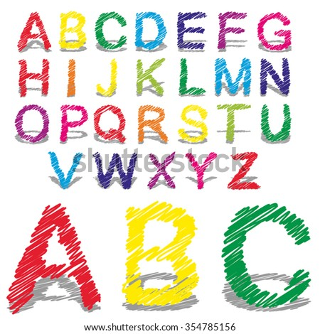 Vector concept or conceptual set or collection of colorful handwritten, sketch or scribble fonts isolated on white background, metaphor to school, education, childhood, artistic, graffiti or children