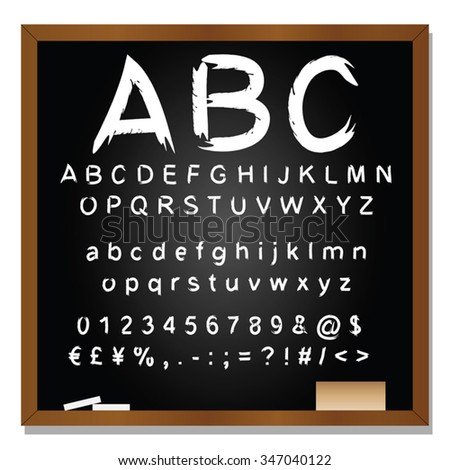Vector concept or conceptual set or collection of white handwritten, sketch or scribble fonts isolated on blackboard black background, metaphor to school, education, childhood, artistic or children - stock vector