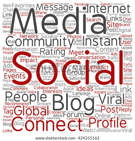 Vector concept or conceptual social media marketing or communication square word cloud isolated on background, metaphor to networking, community, technology, advertising, global, worldwide tagcloud - stock vector