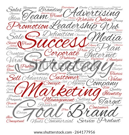 Vector concept or conceptual text word cloud isolated on background, metaphor to advertising, business, company, growth, corporate, identity, innovation, media, management, market, sale or trend value - stock vector