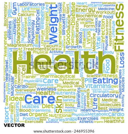 Vector concept or conceptual text word cloud tagcloud isolated on white background, metaphor for health, nutrition, diet, wellness, body, energy, medical, sport, heart, physique, medicine or science - stock vector