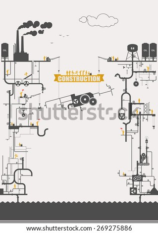 Vector concept - power station, construction ( infographic ) - stock vector