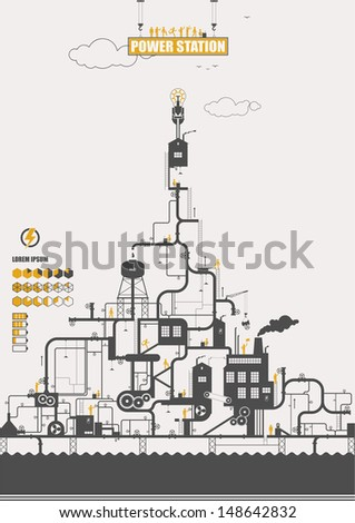 Vector concept - power station ( infographic ) - stock vector