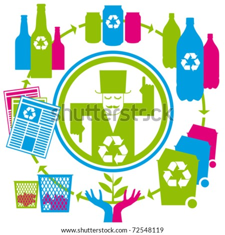 vector concept recycling with cans, tins, bottles, papers and bins - stock vector