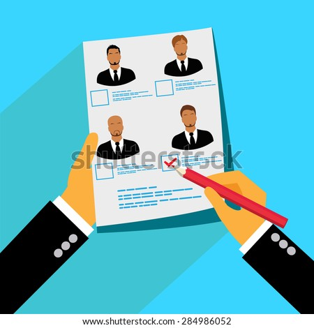 Vector, concept, searching, professional, head, hunter, job, employment, issue, human, resources, management, analyzing, personnel, resume - stock vector