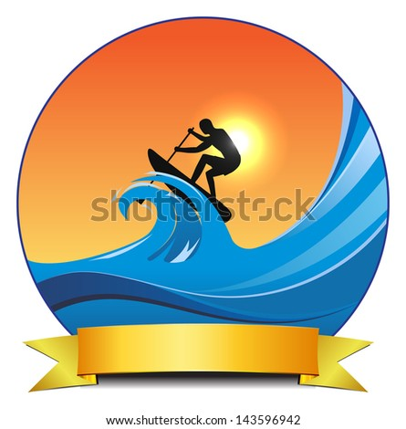 vector concept surf paddle illustration, eps10 file, transparency used, raster version available - stock vector