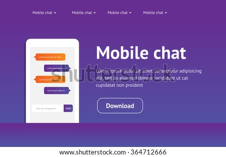 Vector concept website, landing page with mobile chat messages, web interface, application. Speech bubbles. Sms messages. Flat simple modern design, layout.