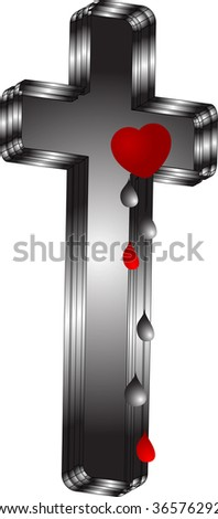 Vector concept with crucifix and heart