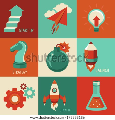 Vector concepts and icons in flat style - start up and innovation business signs and symbols. Launching and starting. - stock vector