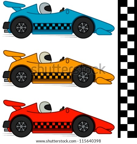 vector conceptual cartoon racing cars three stock vector