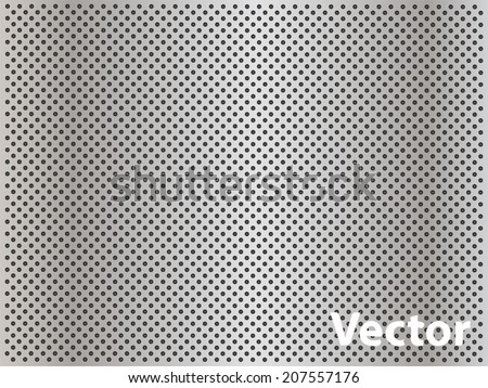Vector conceptual gray abstract metal stainless steel aluminum perforated pattern texture mesh background as metaphor to industrial, abstract, technology, grid, silver, grate, spot, grille surface - stock vector