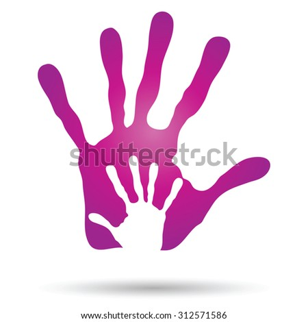 Vector conceptual human,mother and child hand prints painted, isolated on white background for art, care, childhood, family, fun, happy, infant, symbol, kid, little, love, mom, motherhood young design - stock vector