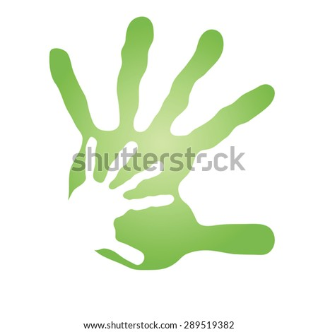 Vector conceptual human or mother and child hand prints painted, isolated on white background for art, care, childhood, family, fun, happy, infant, symbol, kid, little, love, mom, motherhood or young - stock vector