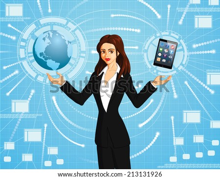 Vector conceptual illustration of a businesswoman connecting to the world using an electronic tablet.