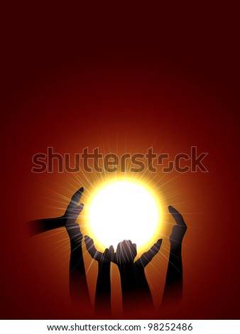 vector  conceptual illustration of hands silhouette holding sun, eps10 file, transparency used, raster version available - stock vector
