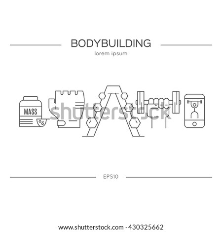 Vector conceptual illustration with fitness objects. Line style series. Bodybuilding and fitness banner template. - stock vector