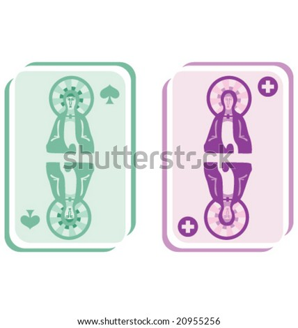 VECTOR Conceptual stylized playing cards. - stock vector