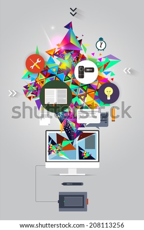 Vector Concert Poster. Music Concept.Abstract music background vector illustration for your design.Music icon collection.Vector Melody Crushing.Colorful background.Flat music icons.Banner.icons. - stock vector