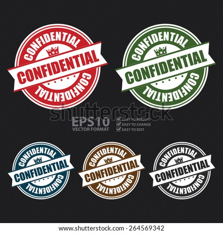 Vector : Confidential Stamp, Badge, Banner, Sign, Tag, Label, Sticker or Icon - stock vector