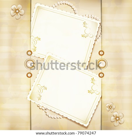 vector congratulation gold retro background with ,pearls, lace, lette - stock vector