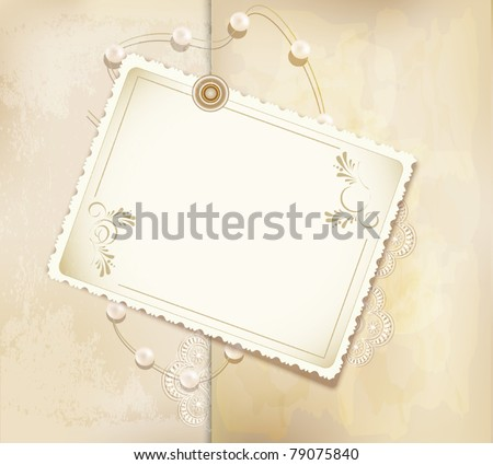 vector congratulation gold retro background with pearls, lace, letter - stock vector