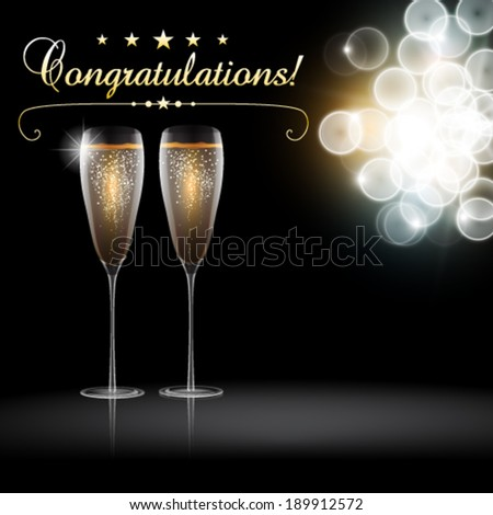 Vector congratulation with a pair glass of champagne, blurred lights in background - stock vector