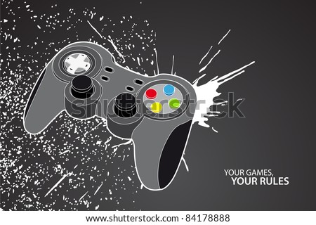 Vector console or PC joystick on black background - stock vector