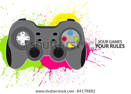 Vector console or PC joystick on white background - stock vector