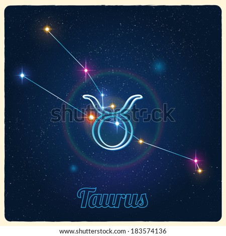 Vector constellation Taurus with the Zodiac sign - stock vector