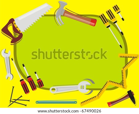 VECTOR - Construction Background - with place for Text - Many Tools Objects (hammer, screwdriver, steel nail, spanner) - Tools of  Woodwork - stock vector