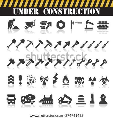 Vector construction icons - stock vector
