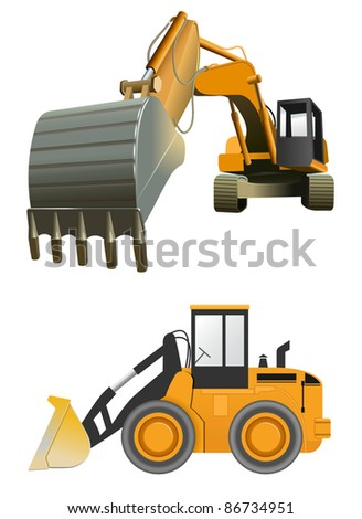 vector construction machines on white background - stock vector