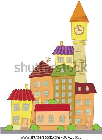 vector construction town little city - stock vector