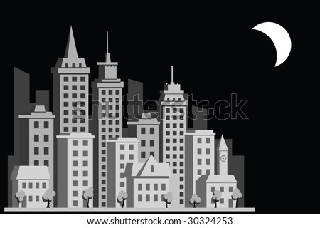 vector construction town night city - stock vector