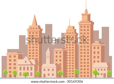 vector construction town sunset city - stock vector