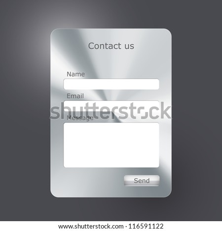 """Vector contacts form with polished metal texture. """"Contact us"""" web form - stock vector"""