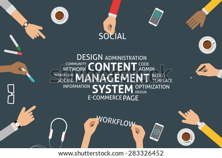 vector content management system concept,template - stock vector