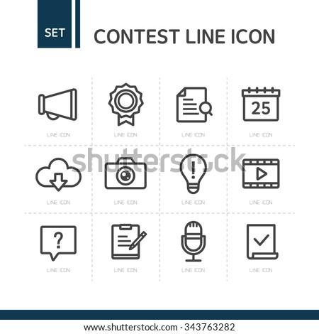 Vector contest exhibit line icon set - stock vector