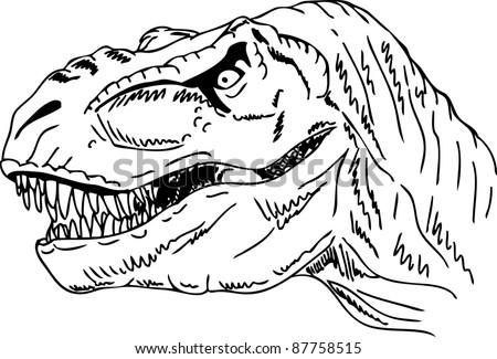 vector - contour head dinosaur isolated on background - stock vector