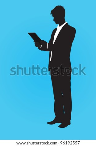 vector contour man with tablet pc - vector illustration - stock vector