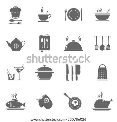 Vector cooking and kitchen icons set - stock vector