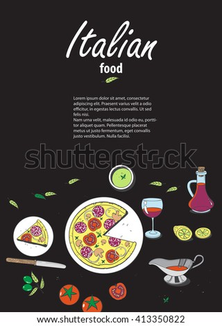 Vector cooking banner template with hand drawn objects on italian food theme: pizza, pasta, tomato, olive oil, olives, cheese, lemon, sauce. Ethnic cuisine concept. Italian cuisine hand drawn objects - stock vector