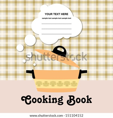 Vector cooking book cover design with pot / Menu design / Recipe card