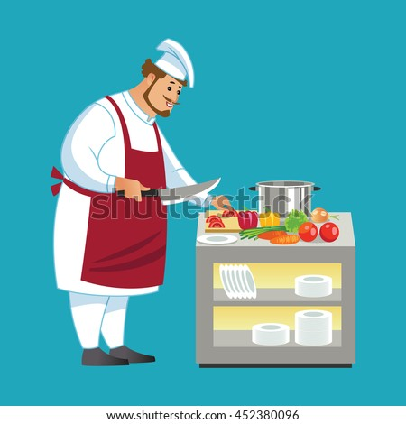 Vector cooking bread miller chef vector illustration. Cartoon miller cook chef icon. Restaurant cook chefs hat and cook uniform. ?hefs isolated. Professions miller - stock vector