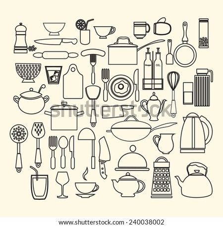 vector cooking foods and kitchen outline icons set - stock vector