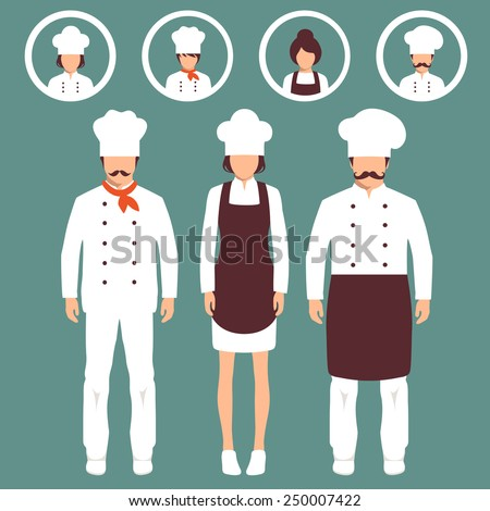 vector cooking illustration, cartoon cook icons, restaurant chef hats - stock vector