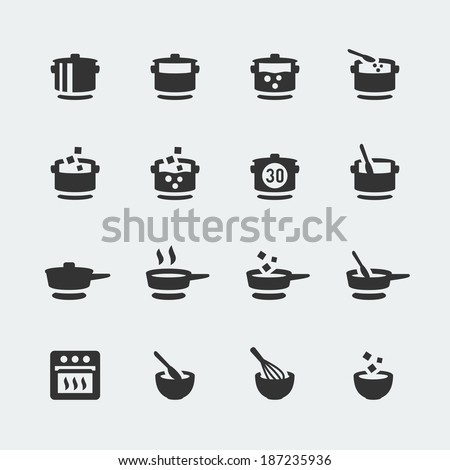 Vector cooking mini icons set - stock vector