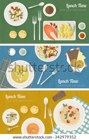 Vector cooking time illustration with flat icons. Fresh food and materials on kitchen table in flat style. Top view of healthy eating - stock vector