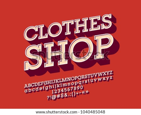 Vector Cool Angled Font With Logotype Clothes Shop Set Of Vintage 3D Letters Numbers